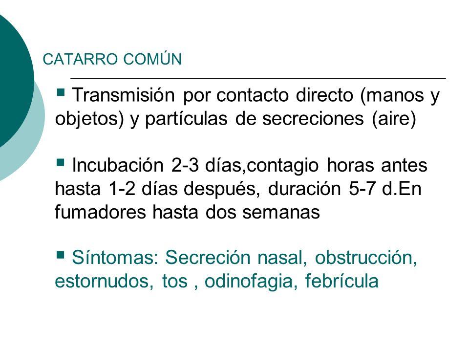 CATARRO COMÚN Transmisión por contacto directo (manos y objetos) y partículas de secreciones (aire)