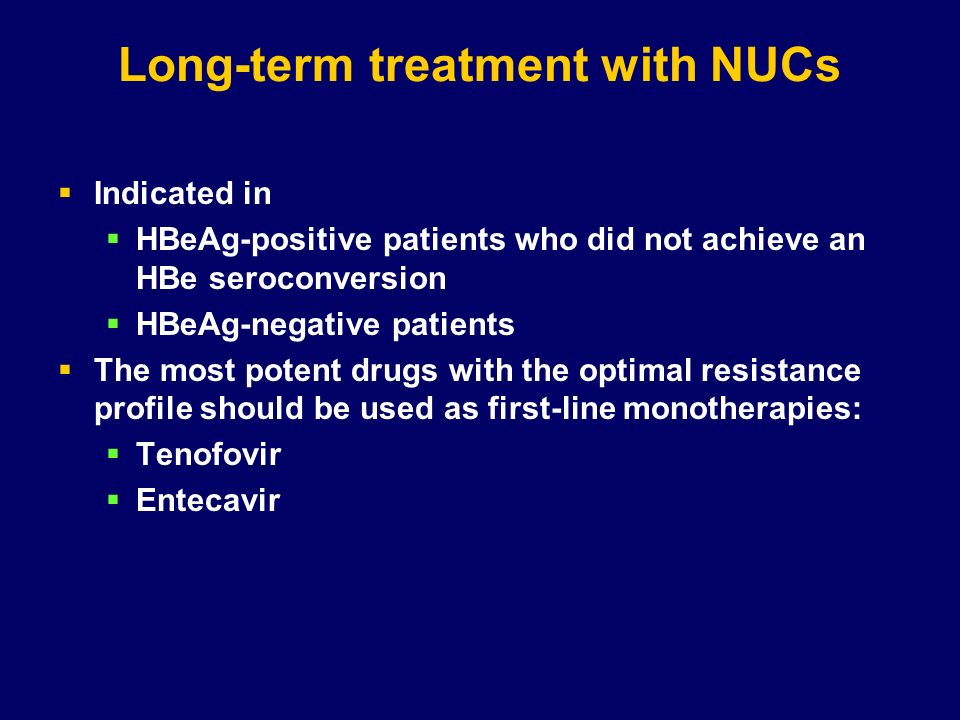 Long-term treatment with NUCs
