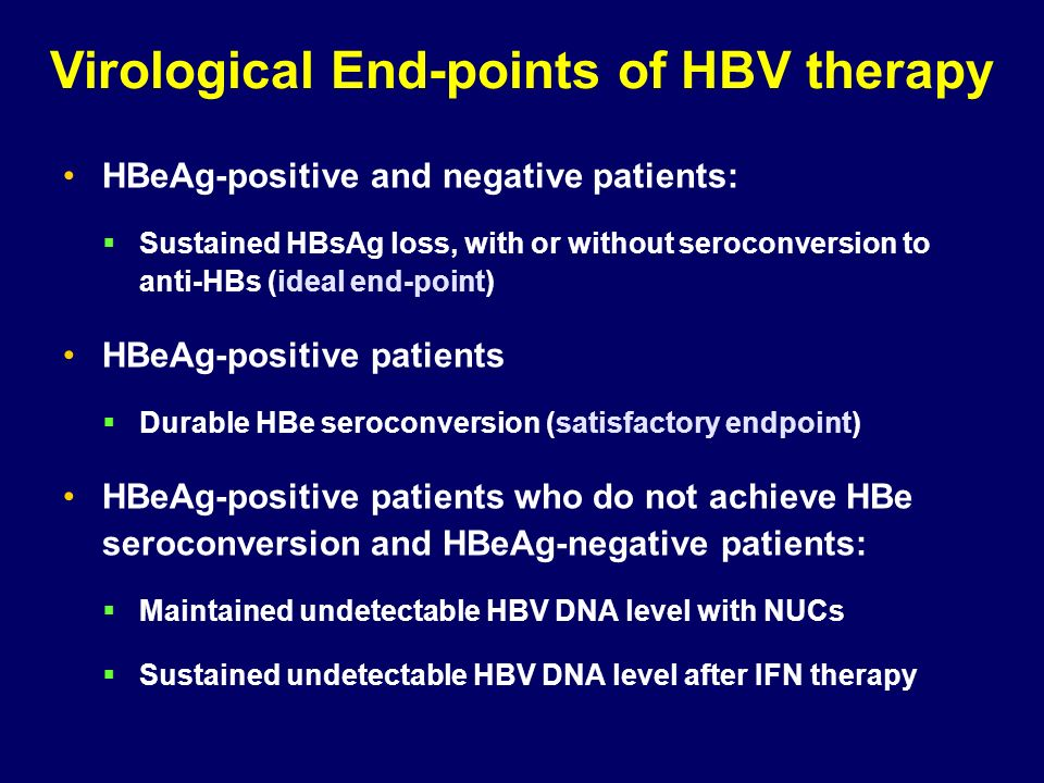 Virological End-points of HBV therapy