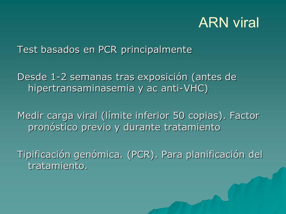 ARN viral Test basados en PCR principalmente