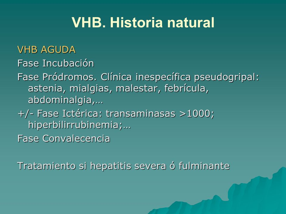 VHB. Historia natural VHB AGUDA Fase Incubación