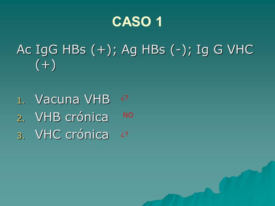 CASO 1 Ac IgG HBs (+); Ag HBs (-); Ig G VHC (+) Vacuna VHB VHB crónica