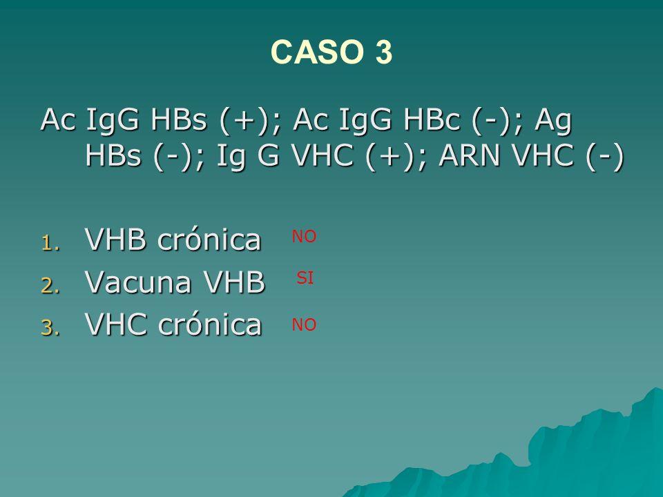 CASO 3Ac IgG HBs (+); Ac IgG HBc (-); Ag HBs (-); Ig G VHC (+); ARN VHC (-) VHB crónica. Vacuna VHB.