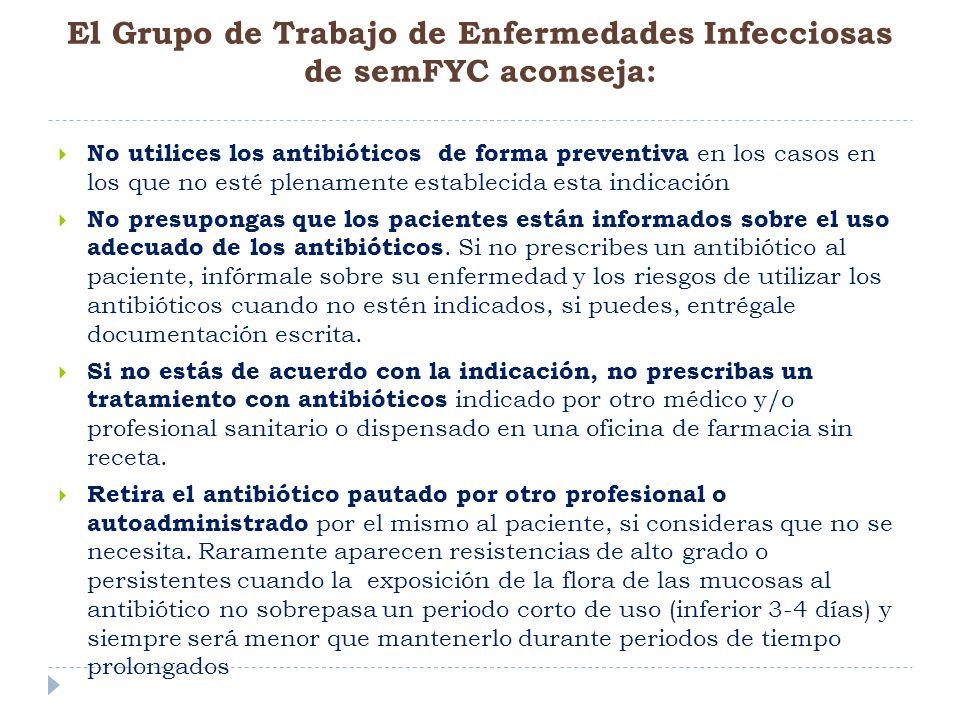 El Grupo de Trabajo de Enfermedades Infecciosas de semFYC aconseja: