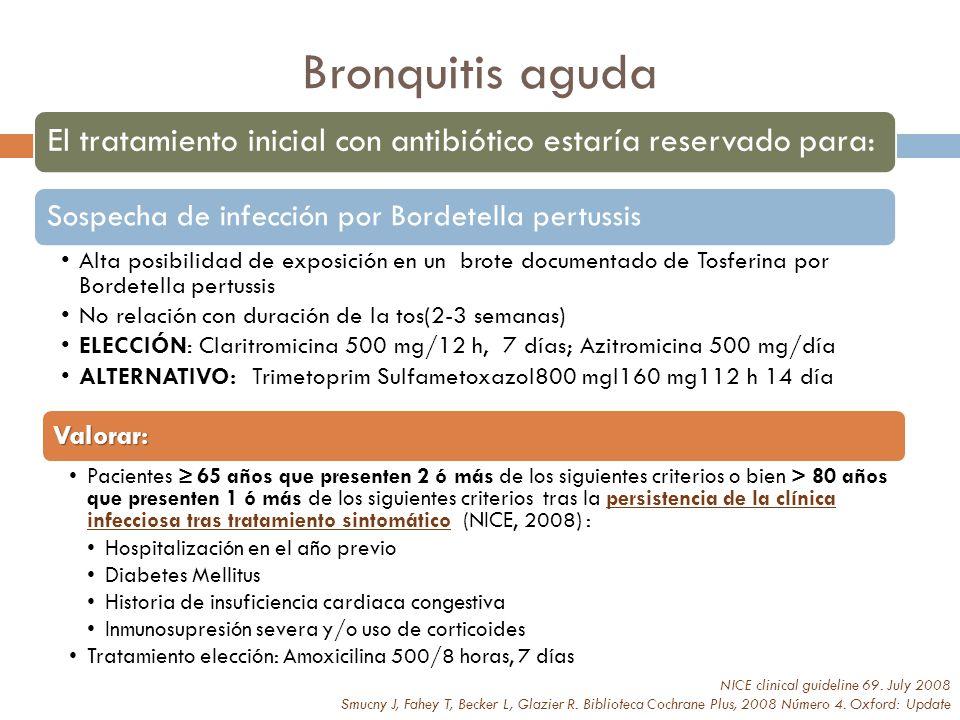 Bronquitis aguda El tratamiento inicial con antibiótico estaría reservado para: Sospecha de infección por Bordetella pertussis.