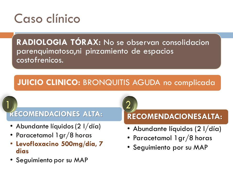 Caso clínico RADIOLOGIA TÓRAX: No se observan consolidacion parenquimatosa,ni pinzamiento de espacios costofrenicos.