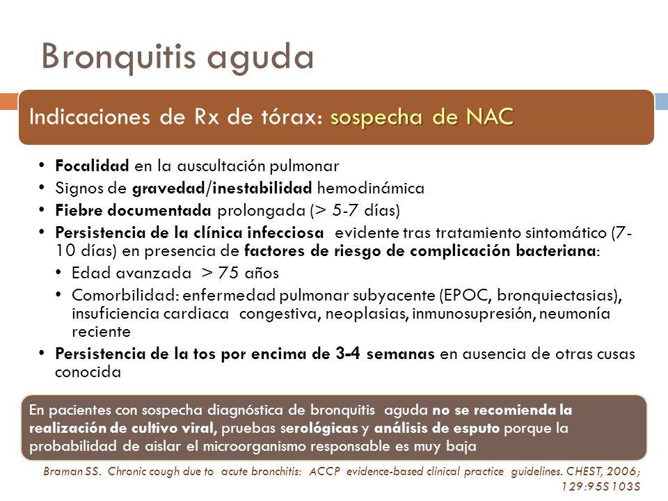 Bronquitis aguda Indicaciones de Rx de tórax: sospecha de NAC