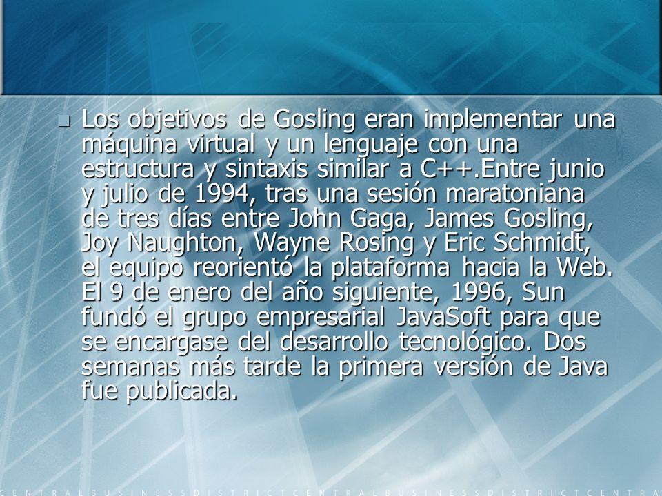 Los objetivos de Gosling eran implementar una máquina virtual y un lenguaje con una estructura y sintaxis similar a C++.Entre junio y julio de 1994, tras una sesión maratoniana de tres días entre John Gaga, James Gosling, Joy Naughton, Wayne Rosing y Eric Schmidt, el equipo reorientó la plataforma hacia la Web.