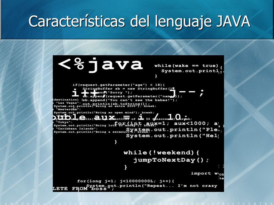 Características del lenguaje JAVA