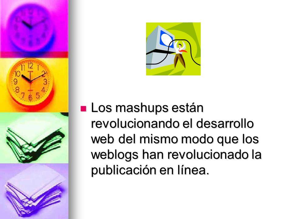 Los mashups están revolucionando el desarrollo web del mismo modo que los weblogs han revolucionado la publicación en línea.