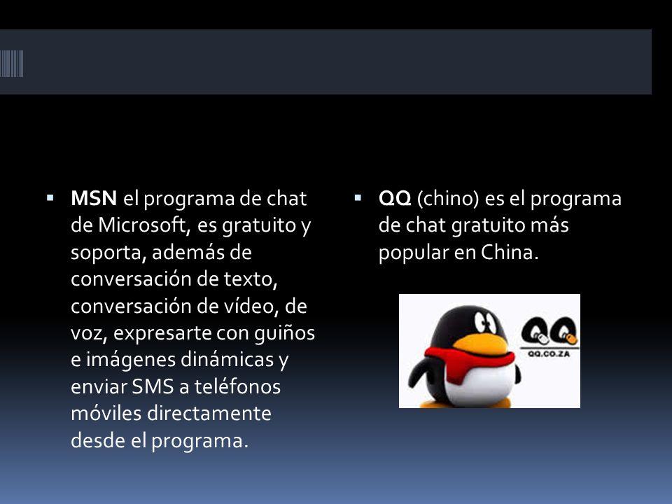 MSN el programa de chat de Microsoft, es gratuito y soporta, además de conversación de texto, conversación de vídeo, de voz, expresarte con guiños e imágenes dinámicas y enviar SMS a teléfonos móviles directamente desde el programa.