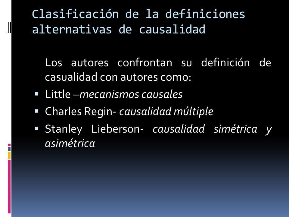 Clasificación de la definiciones alternativas de causalidad