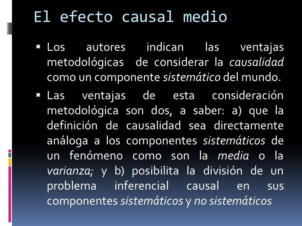 El efecto causal medio Los autores indican las ventajas metodológicas de considerar la causalidad como un componente sistemático del mundo.