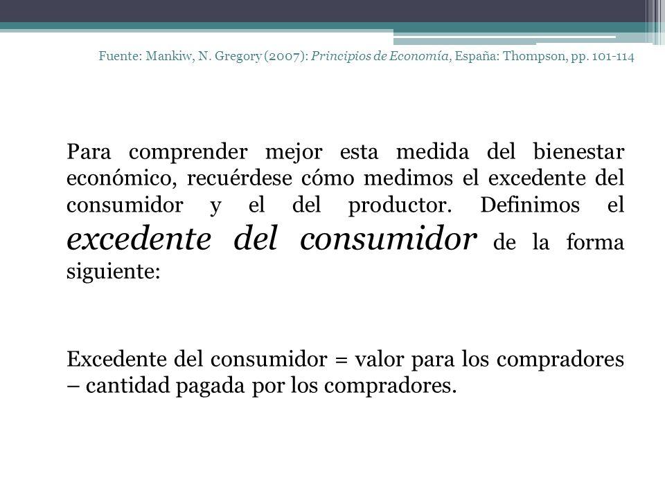 Fuente: Mankiw, N. Gregory (2007): Principios de Economía, España: Thompson, pp. 101-114