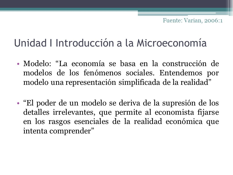 Unidad I Introducción a la Microeconomía