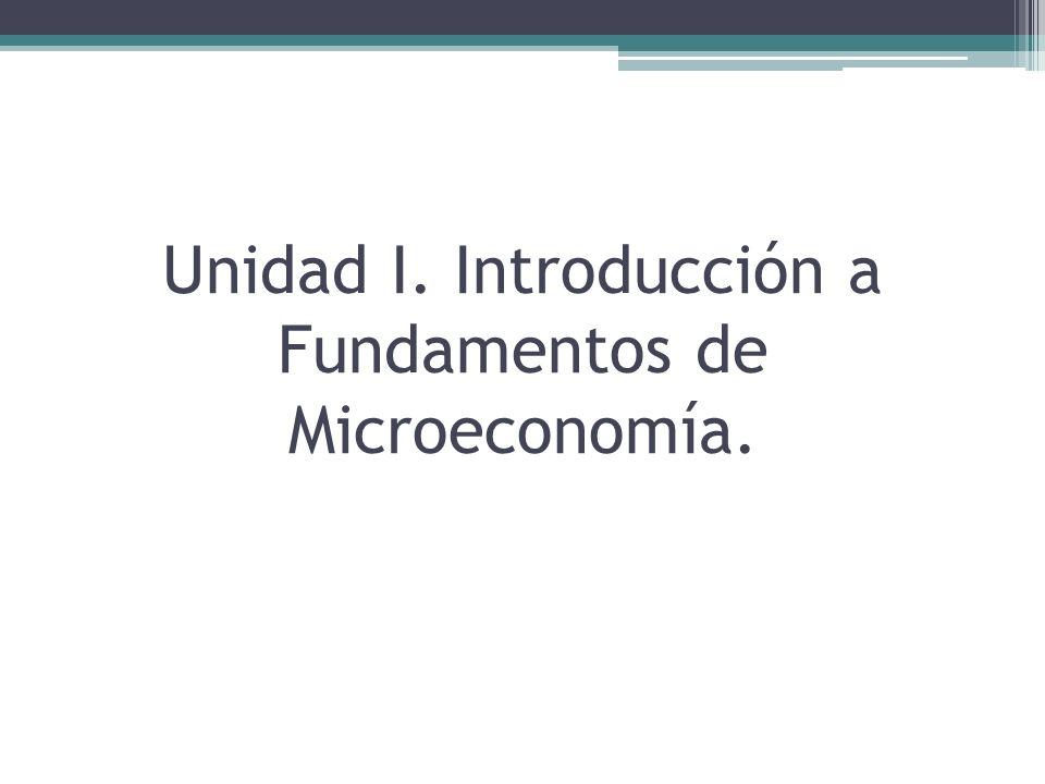 Unidad I. Introducción a Fundamentos de Microeconomía.
