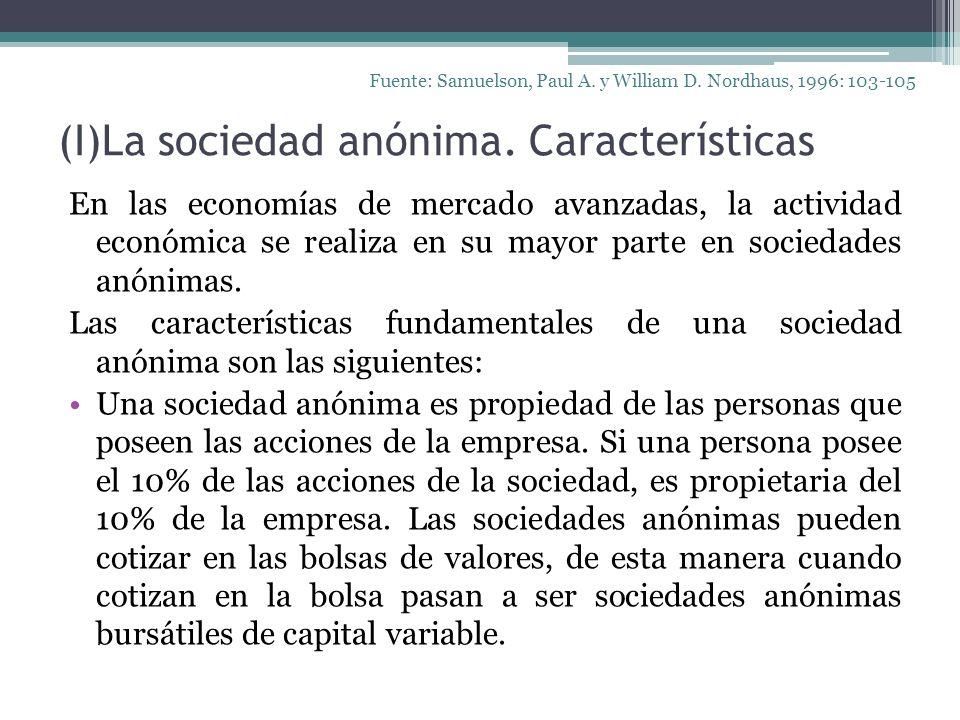 (I)La sociedad anónima. Características