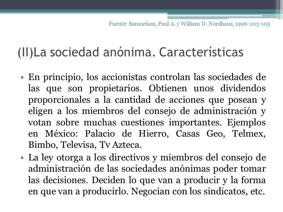 (II)La sociedad anónima. Características