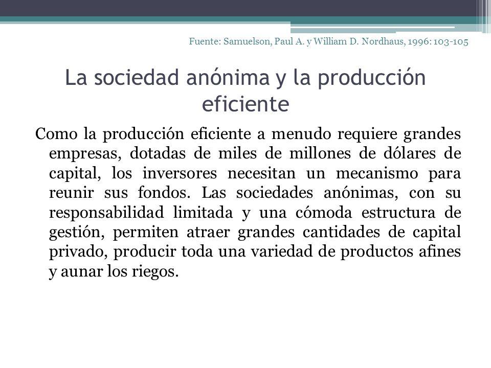 La sociedad anónima y la producción eficiente