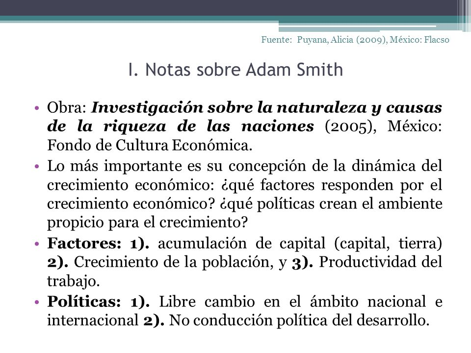 I. Notas sobre Adam Smith