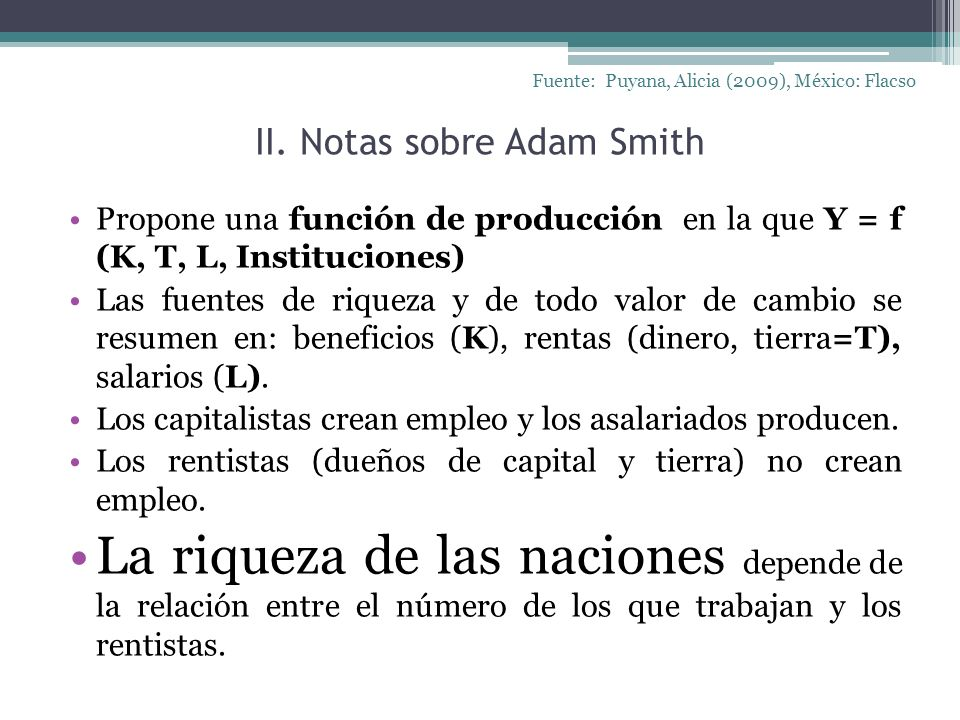 II. Notas sobre Adam Smith