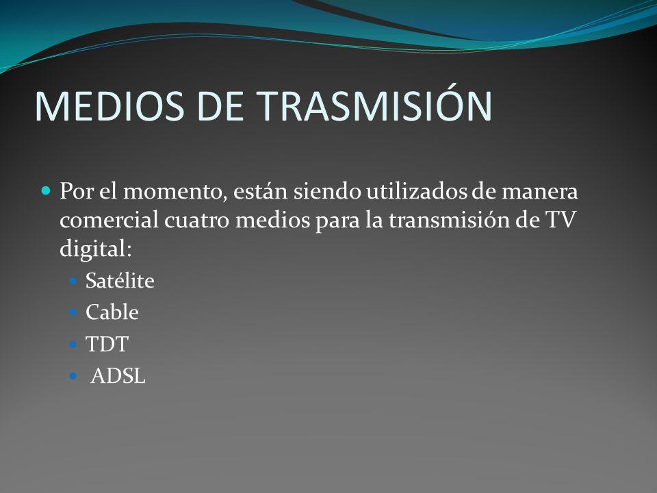 MEDIOS DE TRASMISIÓNPor el momento, están siendo utilizados de manera comercial cuatro medios para la transmisión de TV digital:
