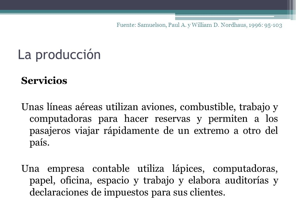 Fuente: Samuelson, Paul A. y William D. Nordhaus, 1996: 95-103
