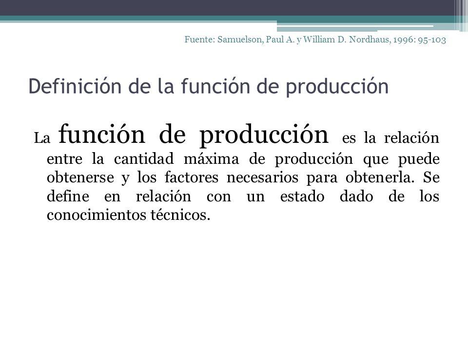 Definición de la función de producción