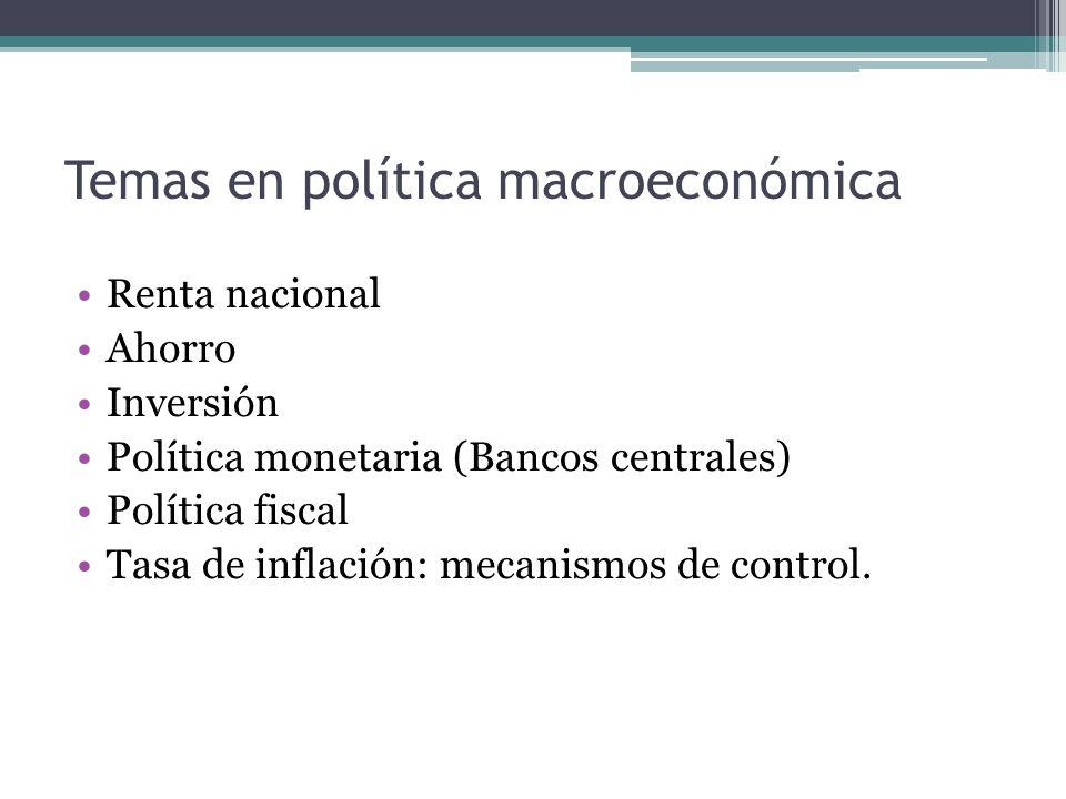Temas en política macroeconómica
