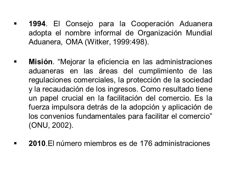 1994. El Consejo para la Cooperación Aduanera adopta el nombre informal de Organización Mundial Aduanera, OMA (Witker, 1999:498).