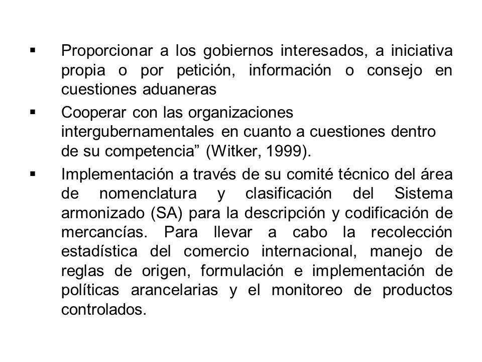 Proporcionar a los gobiernos interesados, a iniciativa propia o por petición, información o consejo en cuestiones aduaneras