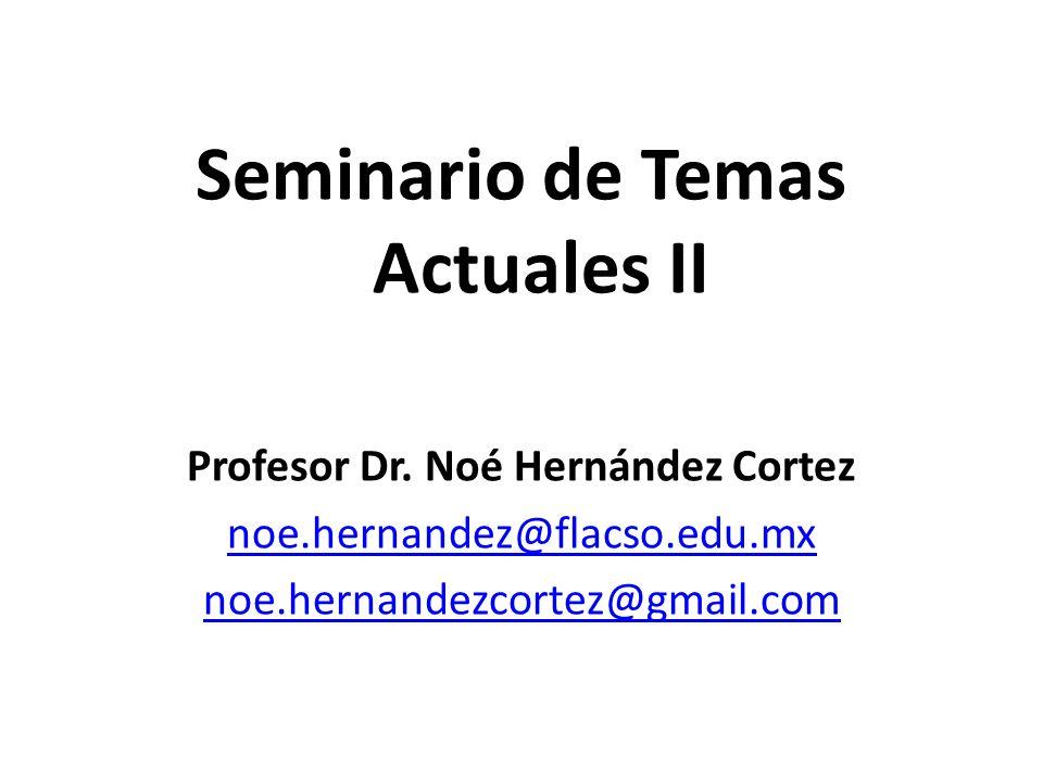 Seminario de Temas Actuales II Profesor Dr. Noé Hernández Cortez