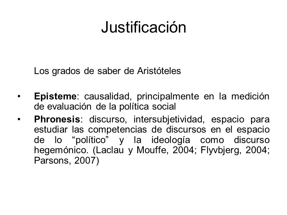 Justificación Los grados de saber de Aristóteles