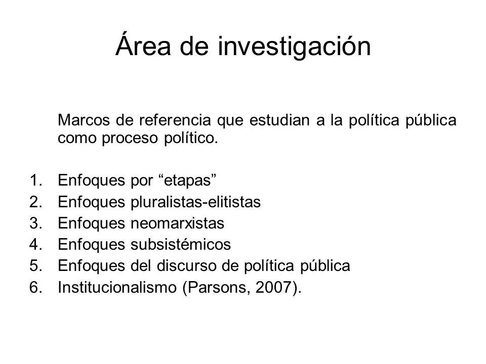 Área de investigación Marcos de referencia que estudian a la política pública como proceso político.