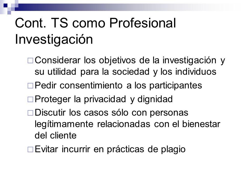 Cont. TS como Profesional Investigación