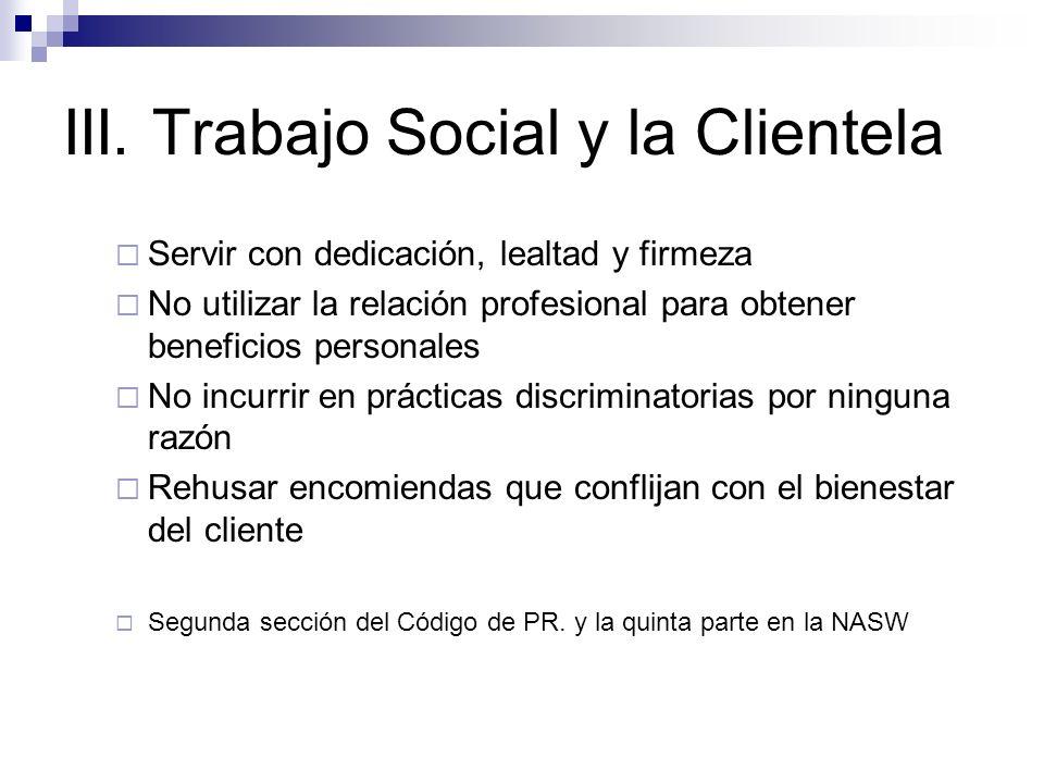 III. Trabajo Social y la Clientela
