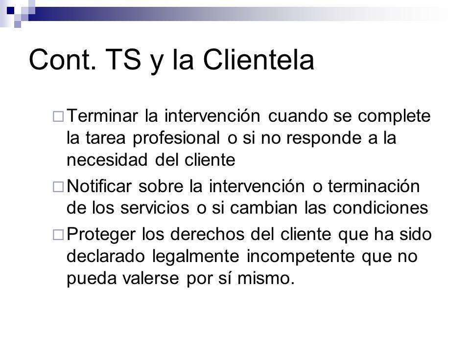 Cont. TS y la ClientelaTerminar la intervención cuando se complete la tarea profesional o si no responde a la necesidad del cliente.