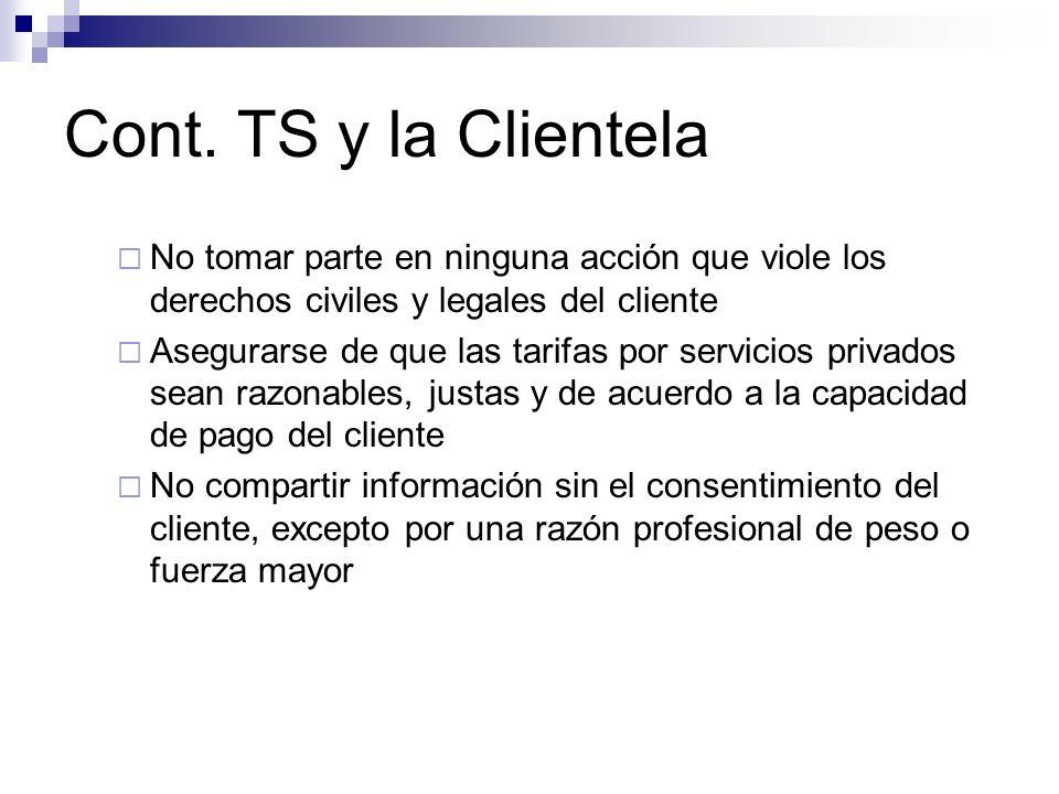 Cont. TS y la Clientela No tomar parte en ninguna acción que viole los derechos civiles y legales del cliente.