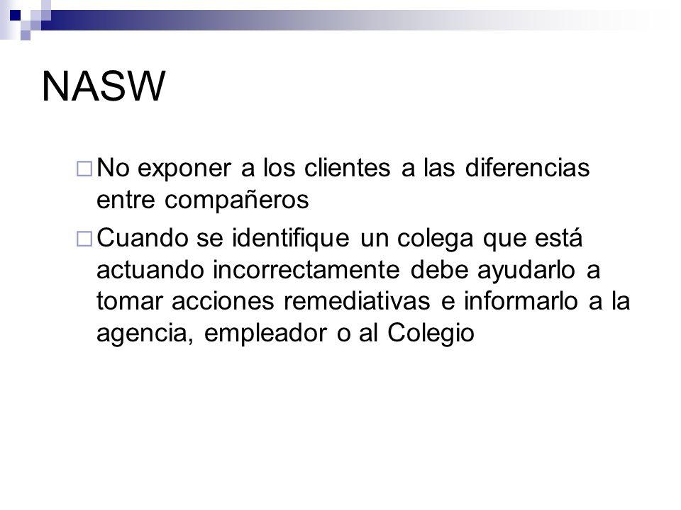 NASW No exponer a los clientes a las diferencias entre compañeros