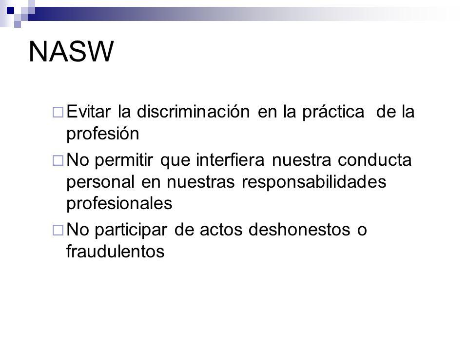 NASW Evitar la discriminación en la práctica de la profesión