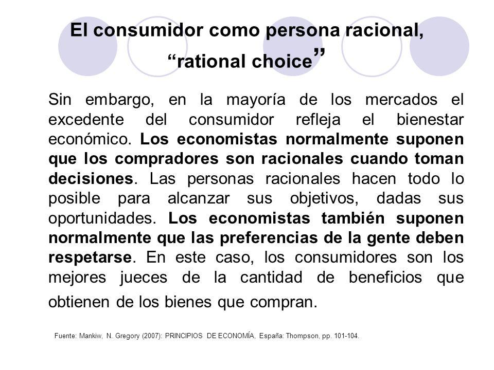 El consumidor como persona racional, rational choice