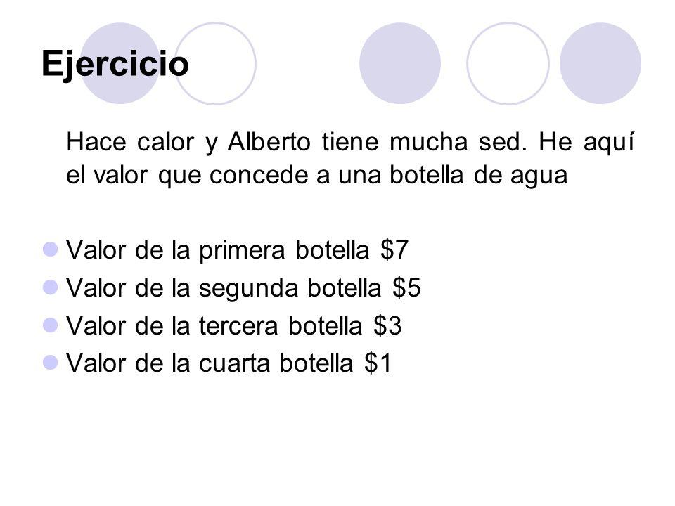 EjercicioHace calor y Alberto tiene mucha sed. He aquí el valor que concede a una botella de agua. Valor de la primera botella $7.