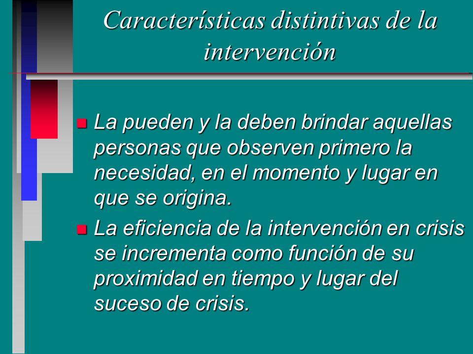 Características distintivas de la intervención