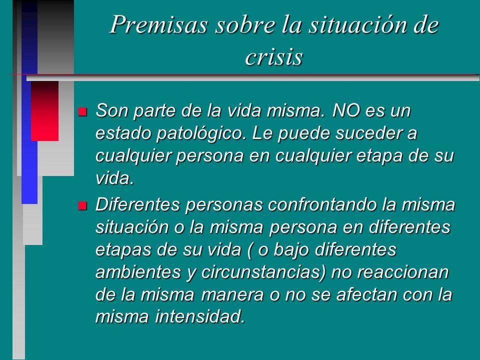 Premisas sobre la situación de crisis