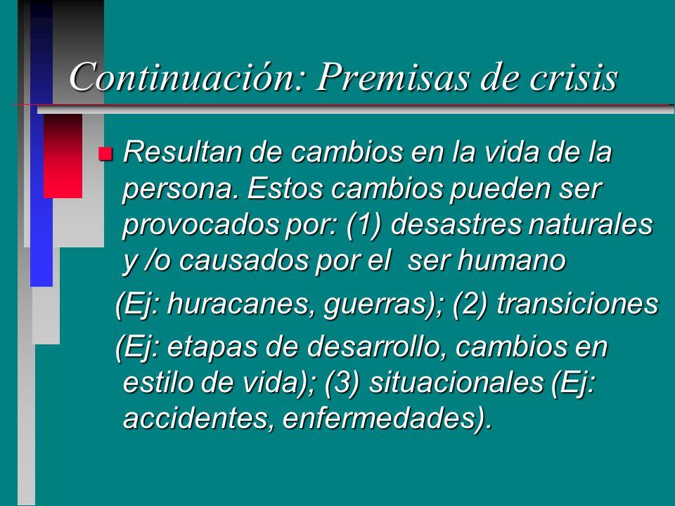 Continuación: Premisas de crisis