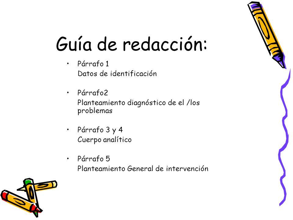 Guía de redacción: Párrafo 1 Datos de identificación Párrafo2