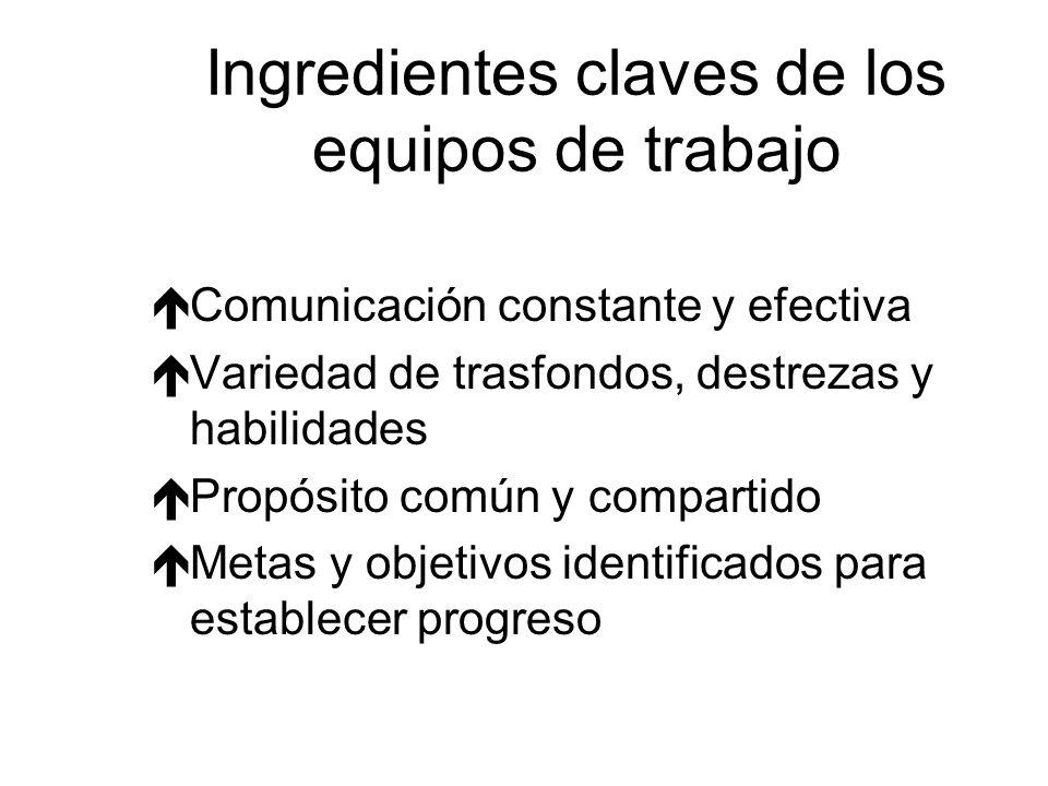 Ingredientes claves de los equipos de trabajo