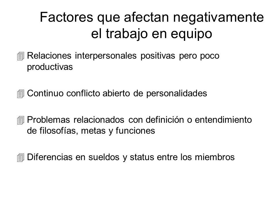 Factores que afectan negativamente el trabajo en equipo