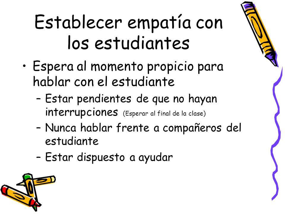 Establecer empatía con los estudiantes