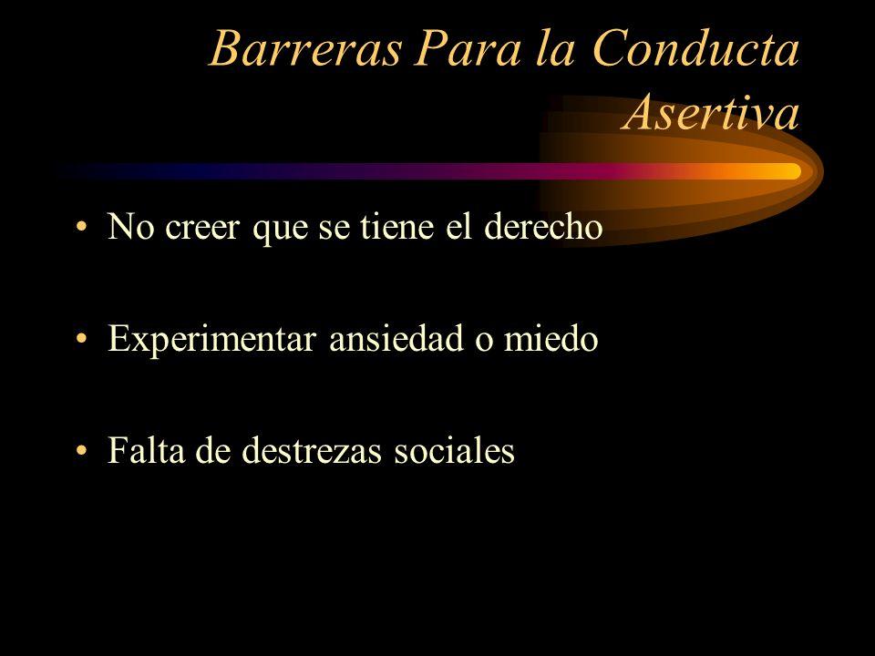Barreras Para la Conducta Asertiva